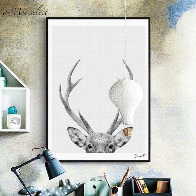A3サイズ30×40cm「ひょっこり」鹿のモノトーンカラーキャンバスアート 北欧アート お洒落なアニマルデザイン ポスター