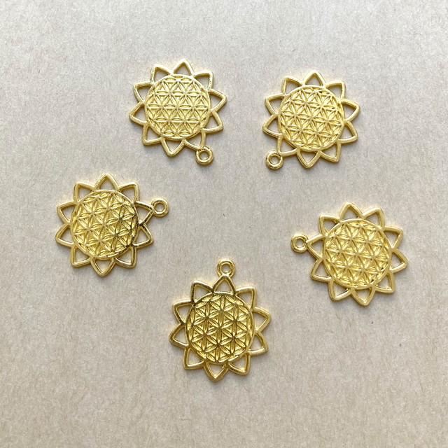 【開運パーツ】太陽フラワー・オブ・ライフ(ゴールド)1セット3個