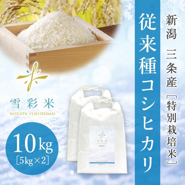 【雪彩米】三条産 特別栽培米 令和2年産 従来種コシヒカリ 10kg