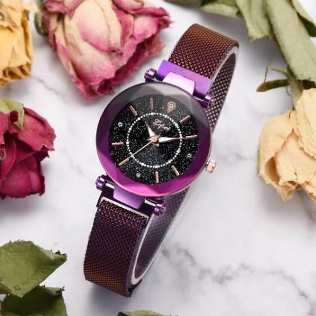 レディース 腕時計 パープル 紫 星空 ダイヤモンド メッシュ マグネットバックル 幾何学的な表面 クォーツ リストウォッチ 豪華 Trendy-41-purple