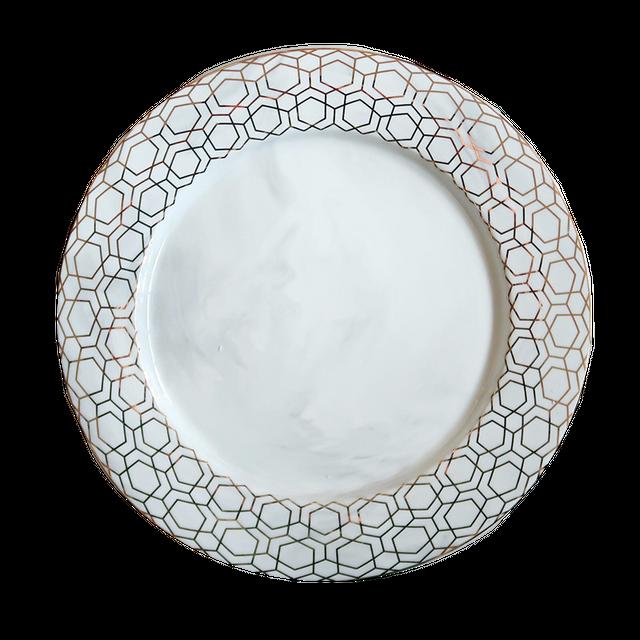 Marble goldpattern dish / 大理石 ゴールド柄 皿 21.5cm