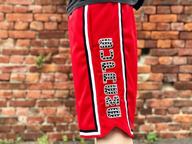 Supreme RHINESTONE BASKETBALL SHORT RED MEDIUM 60JE6388