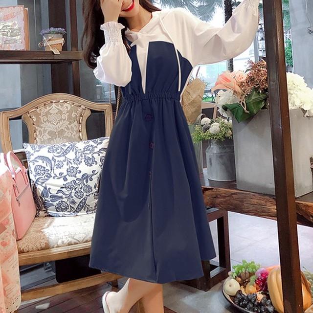 【dress】しゃれど満々重ね着風フード付きワンピース25616092