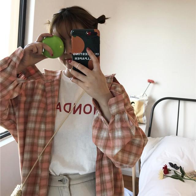 【tops】カジュアル長袖着痩せ韓国系チェック柄アウターシャツ