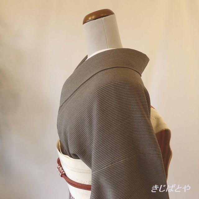 正絹ちりめん 璃寛茶(りかんちゃ)に縞の小紋 袷