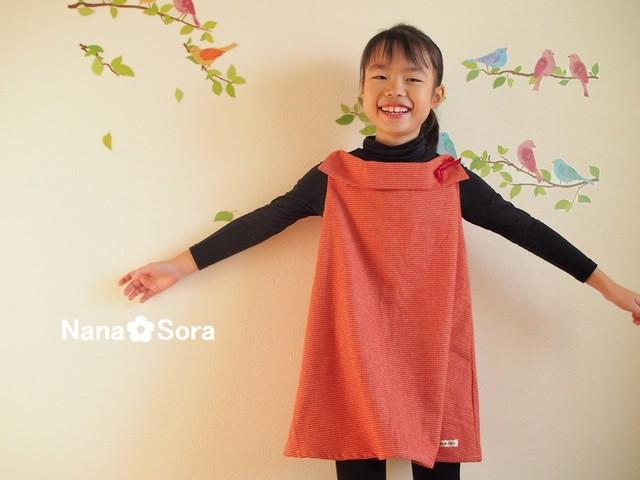 上品えりの女の子の子供服。USAコットンのAラインワンピース(フランネル・千鳥格子・レッド)