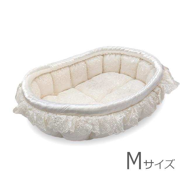 ふーじこちゃんママ手作り ぽんぽんベッド(サテンホワイト・レース柄)Mサイズ【PB1-152M】