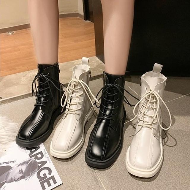 【シューズ】スクエアトゥ暖かいローヒールカジュアルショート丈ブーツ/ブーティー35554277