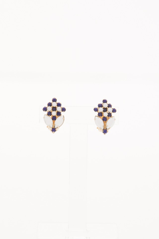【Run Rabbit Run Vintage 】Navy × white earring