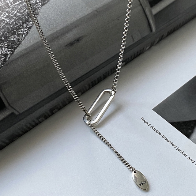 「order」oval motif silver necklace n040