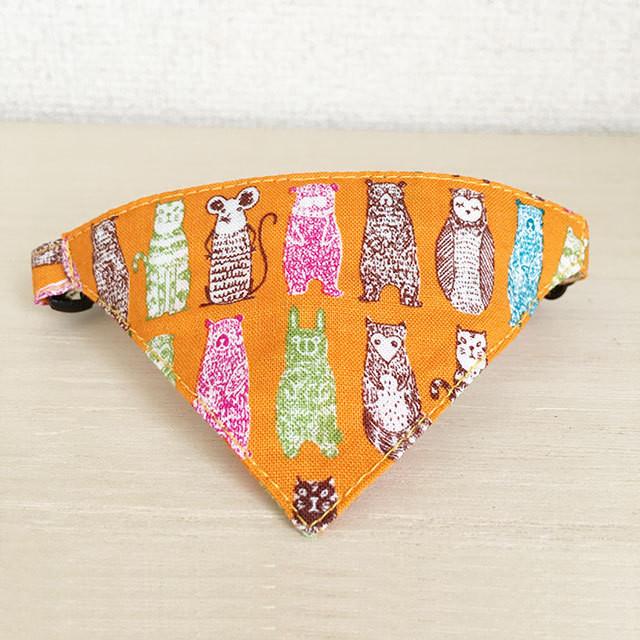 【アニマルズ柄】猫用バンダナ風首輪/選べるセーフティバックル
