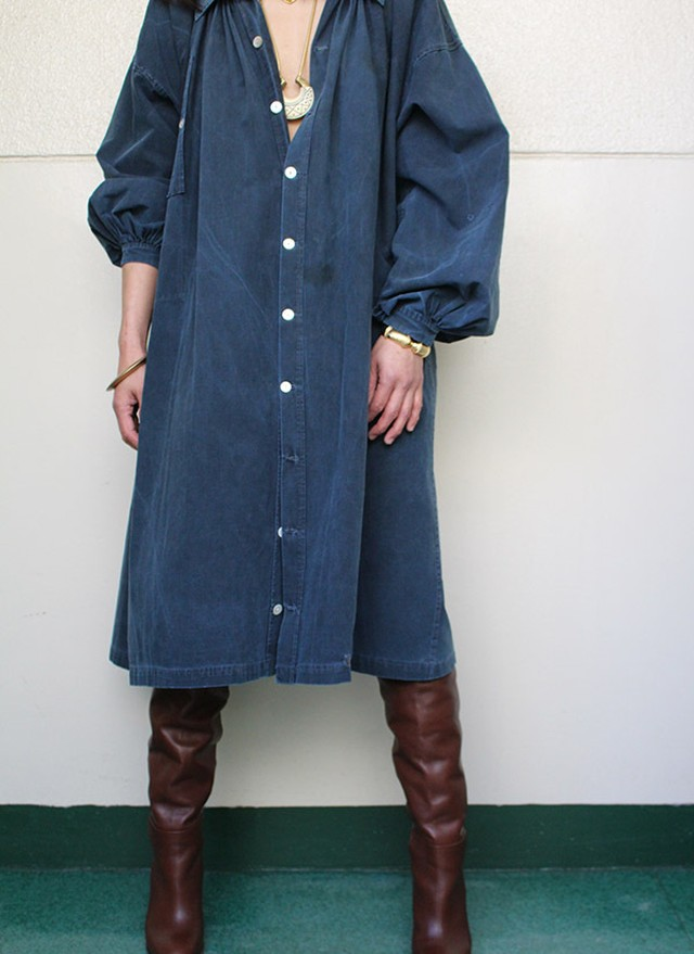1900's antique French indigo linen smock