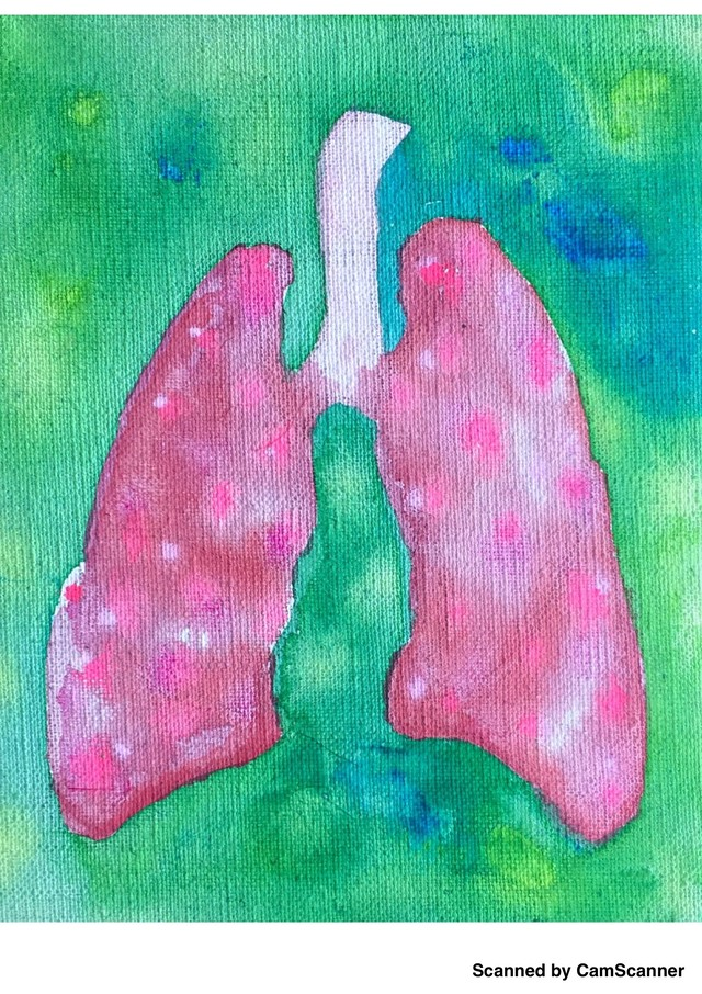 Sick( or not )lungs/ 18×14cm / Acrylic painting / Original Drawing