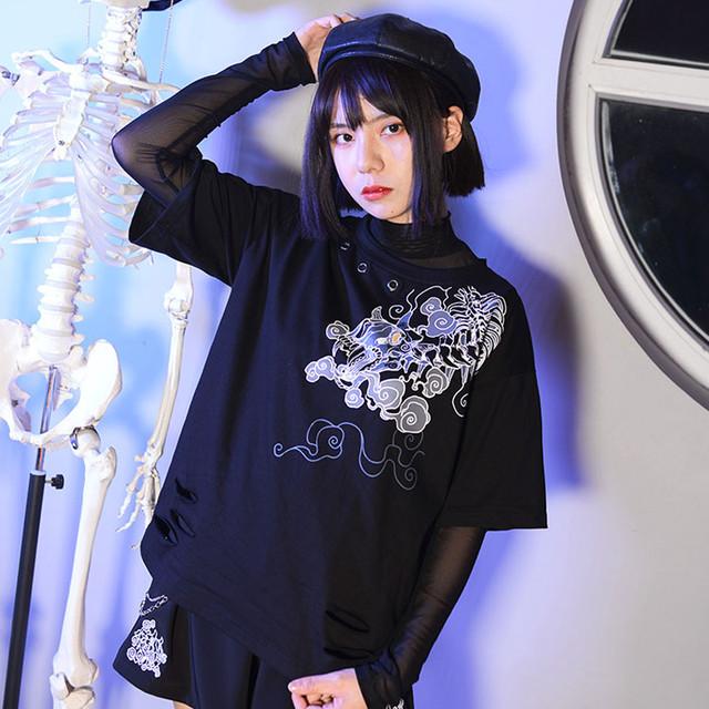 「荒神シリーズ」 ★Tシャツ★ Digital Printing チャイナ風服 オリジナルデザイン ブラック 黒 改良漢服 デート