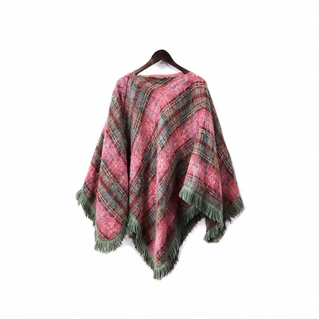 Vintage - Check&Fringe Design Poncho ¥11000+tax