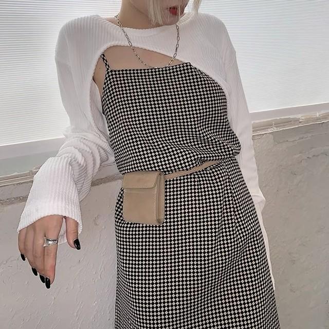 harlequin check suspender one piece