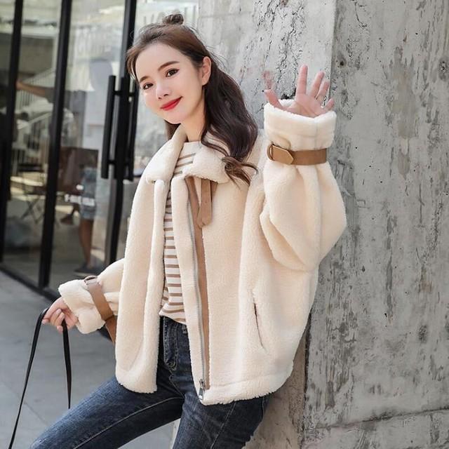 【送料無料】トレンド♪ボアブルゾン♡ブルゾン モコモコ カジュアル 着回し 暖か 羽織  可愛い