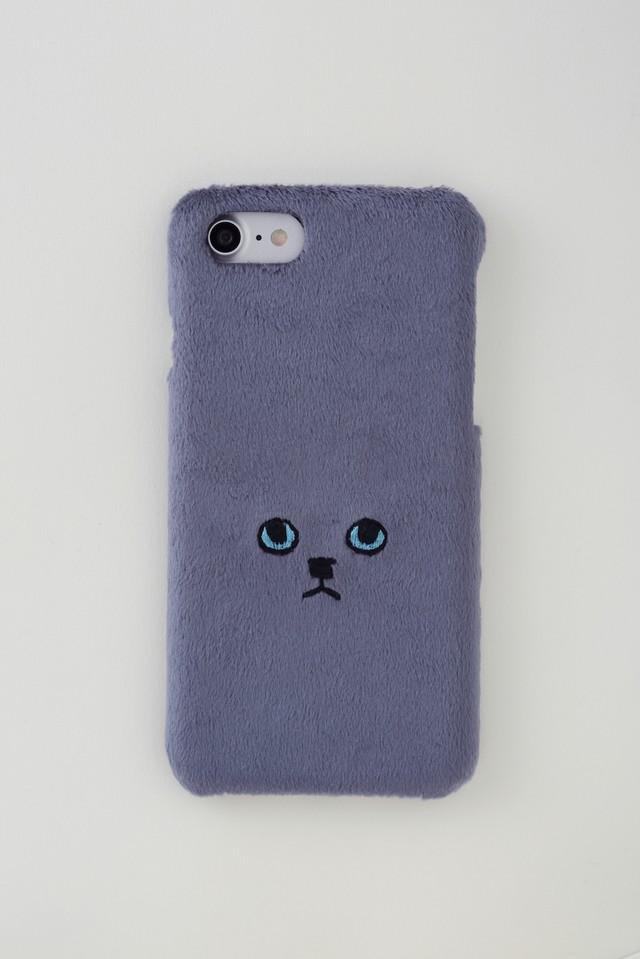 【新生地】ネコiPhone7ケース【グレーブルーアイ】
