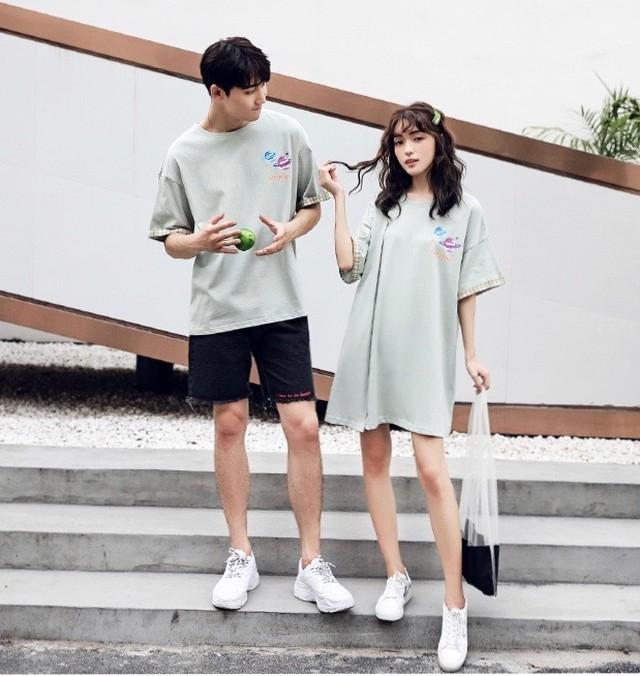 カップル ペアルック リンクコーデ  Tシャツ ワンピース  カジュアル お揃い 0555