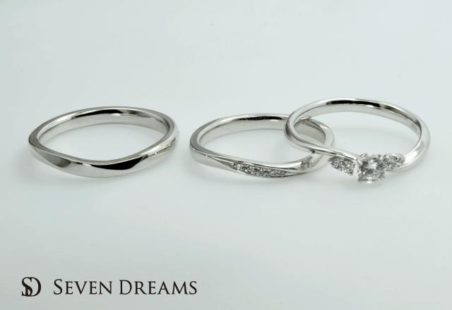 プラチナ婚約・結婚指輪ウェーブ&ツイスト3点セットリング<S-3> 重ね付けがおすすめ