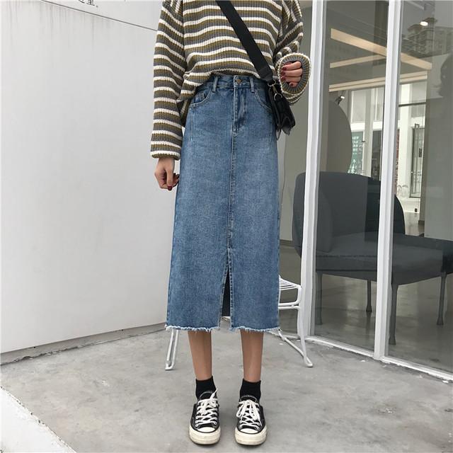 スリットデニムロングスカート