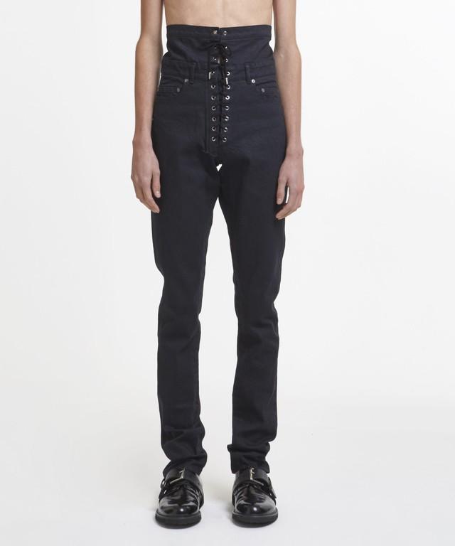Black Hi Shoelace Straight Jeans