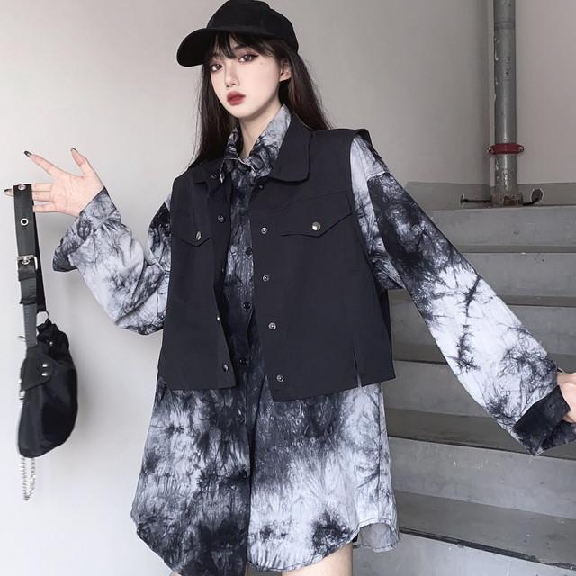 【トップス】ファッションゆるリラックス長袖単列複数バックルシャツセットアップ35421034