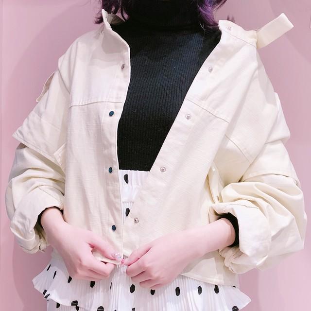 【ManonMimie】フリルサテンブルゾン