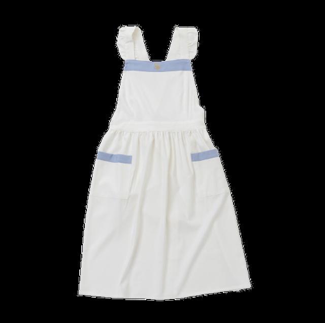 Bycolor frill apron / バイカラー フリル エプロン(ホワイト × サックス)