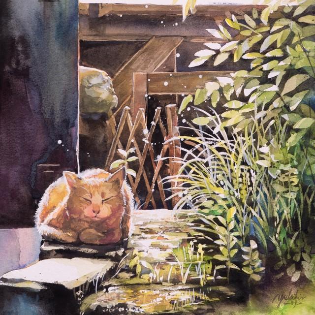 絵画 絵 ピクチャー 縁起画 モダン シェアハウス アートパネル アート art 14cm×14cm 一人暮らし 送料無料 インテリア 雑貨 壁掛け 置物 おしゃれ 水彩画  動物 アニマル 猫 ねこ ネコ ロココロ 画家 : 平田幸大 作品 : 陽だまり