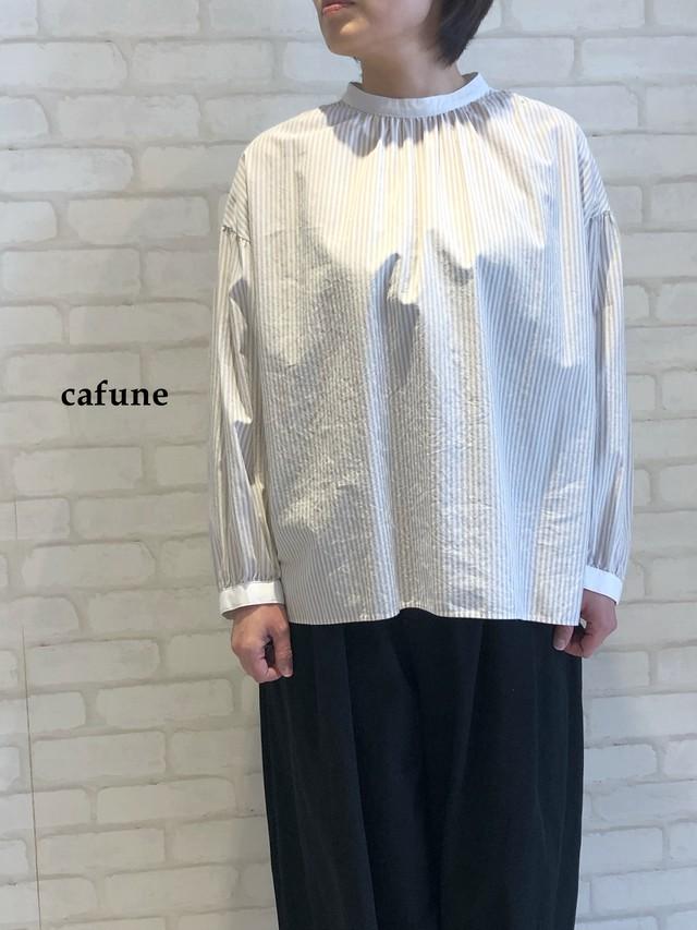cafune/スタンドカラーブラウス/125908(ベージュストライプ)