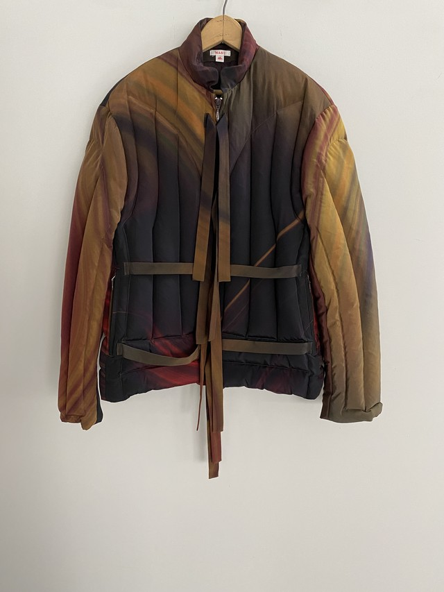 M A S U /  MARBLE PRINT DOWN JACKET (RED MARBLE)