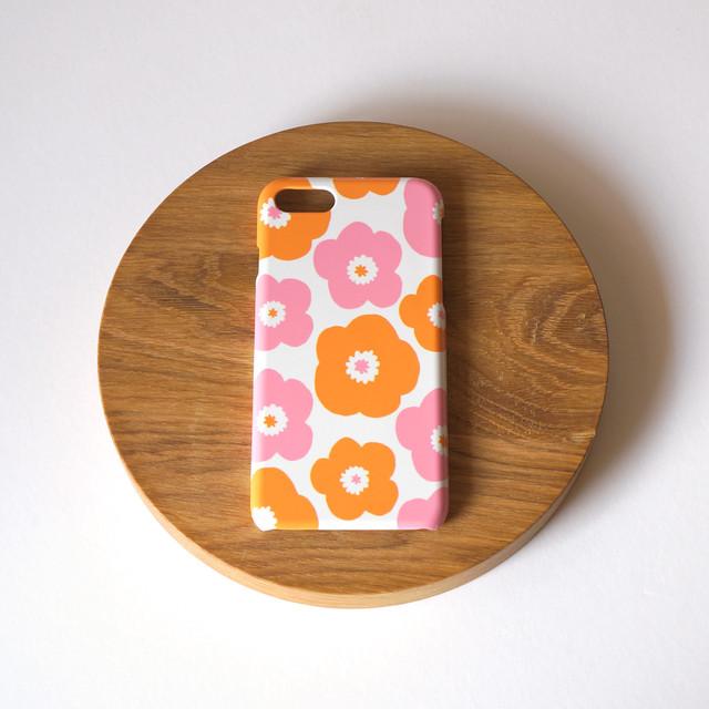 【iPhone / Android 各機種専用タイプ】側表面印刷*ハード型*スマホケース「popy ( pink × orange )」● 受注生産