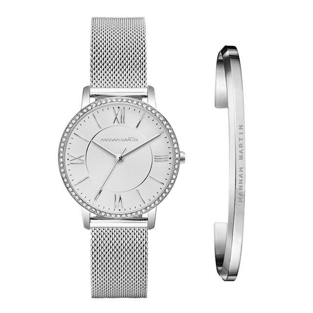 1セット時計&ブレスレット女性日本クォーツラインストーン腕時計トップブランド高級ファッションカジュアルレディース時計1072WY-SZ-silver