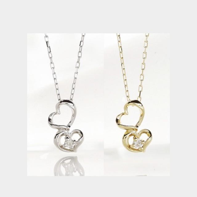 天然ダイヤモンド  K10YG WG ハートモチーフ  ペンダント ネックレス