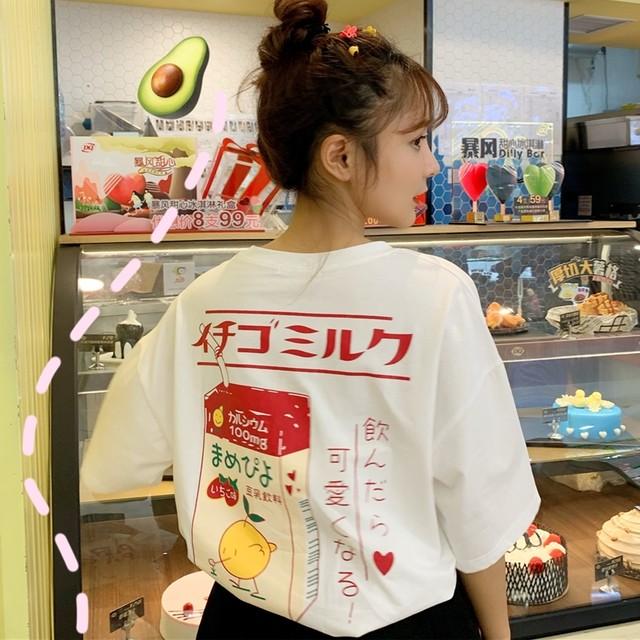 イチゴミルクバッグプリントTシャツ