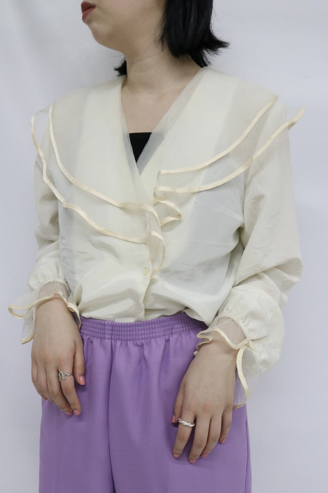 collar frill design blouse / 5SSTP08-05