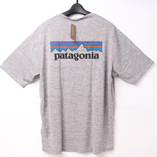 patagonia パタゴニア Tシャツ グレー M ロゴ[全国送料無料] r017493