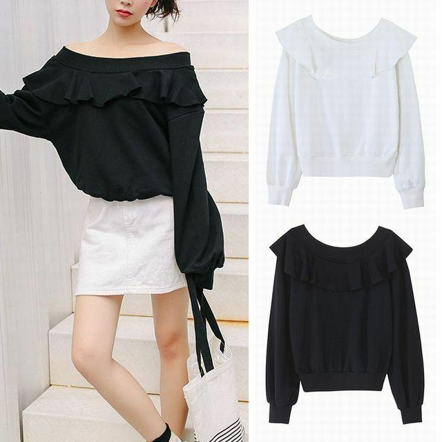 レディース コットン 片開き オフショル トップス 春コーデ / Chic word shoulder shirt women's network anchor super fairy (DCT-587507718385)