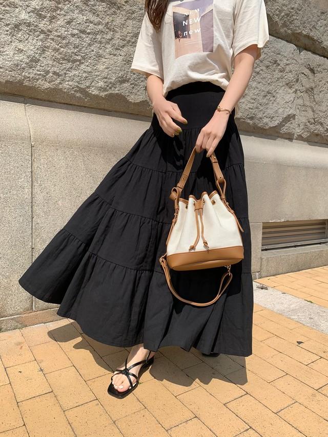 【予約】cotton tiered skirt / black (5月末~6月上旬発送予定)