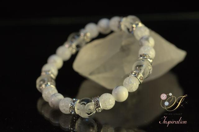 チェリークォーツ(人工石)・水晶スターカットブレスレッドB017