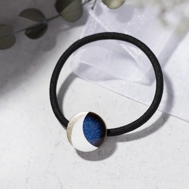藍色 丸 陶器 三日月 モダンスタイル ヘアゴム 美濃焼