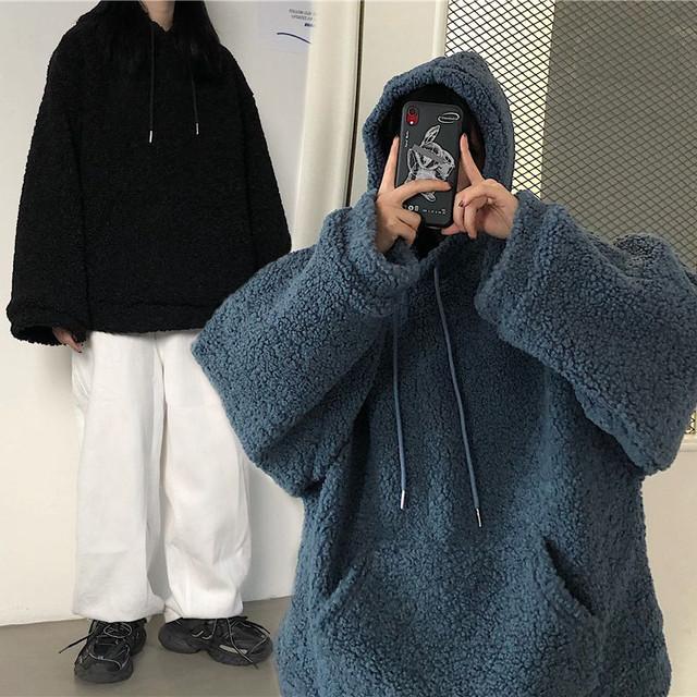 ボアパーカー もこもこ ラムウール ルーズ 防寒 韓国ファッション レディース 韓国ファッション レディース フリース ボア ゆったり カジュアル ストリート系 / Loose and thick lambswool hooded pullover brocade (DTC-631523179929)
