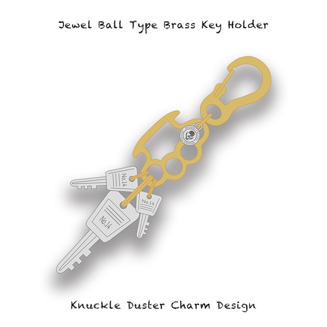 Jewel Ball Type Brass Key Holder / Knuckle Duster Charm Design