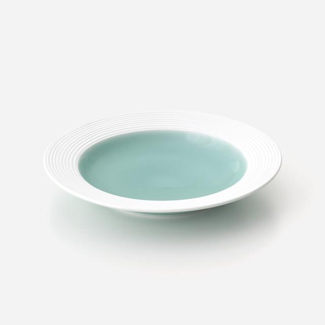 青磁白彩 リム皿