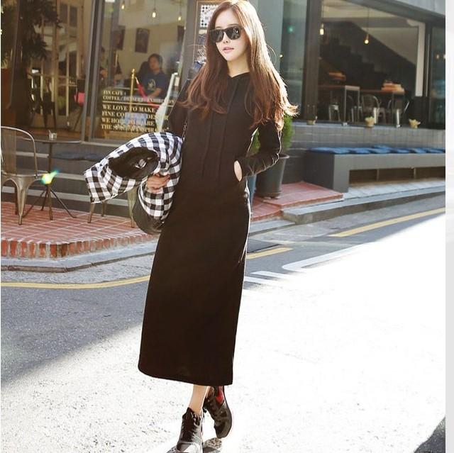【dress】フード付き美しいラインロング大好評ワンピース 23685939