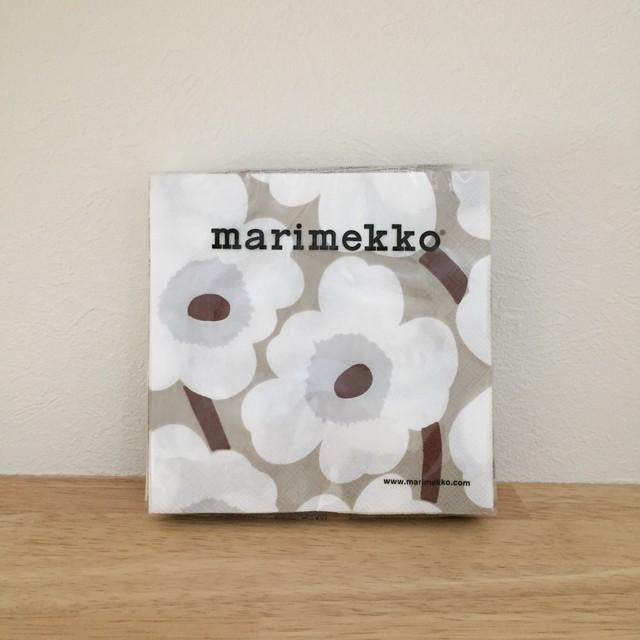 【marimekko】カクテルサイズ ペーパーナプキン UNIKKO ホワイト×リネン
