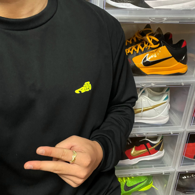 AOKICKS LOGO DRY T-SHIRT / BLACK×NEON YELLOW