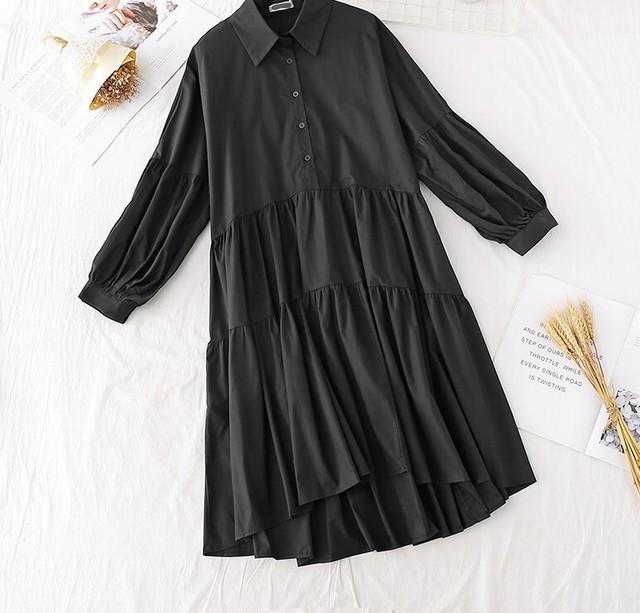 【ワンピース】後ろ下がり ボタンシャツ ワンピース・ブラック