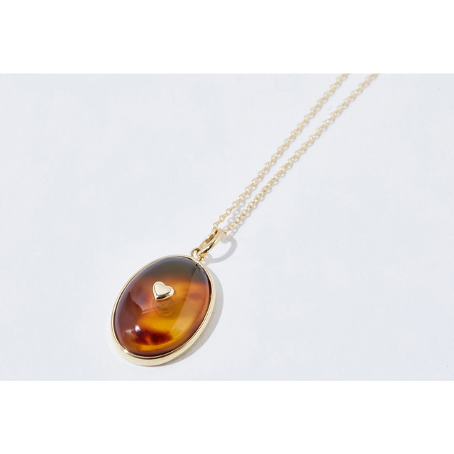 TORTOISE SHELL GOLD NECKLACE OVAL HEART (LIMITED)